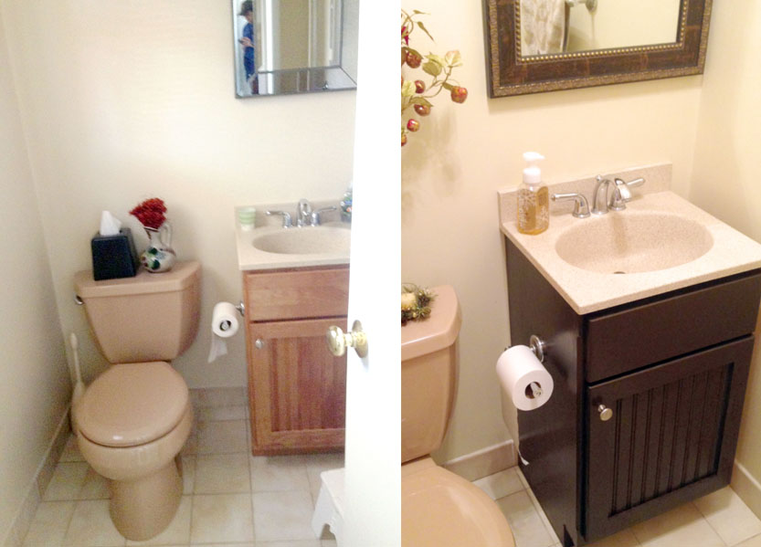 Gel staining bathroom cabinets for an inexpensive easy update for How to stain a bathroom vanity