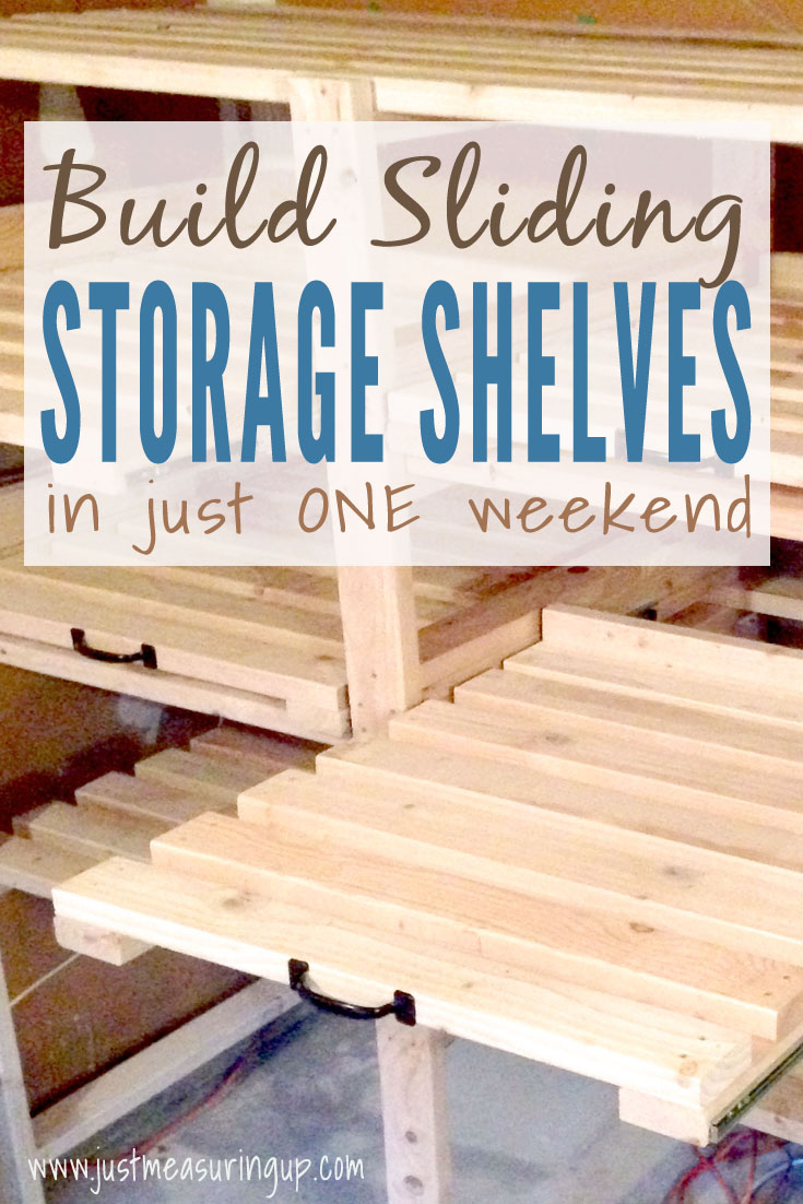 Build Sliding Storage Shelves for your garage or basement - easy tutorial