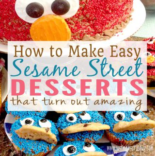 Easy Elmo Cake and Cookie Monster Cupcakes