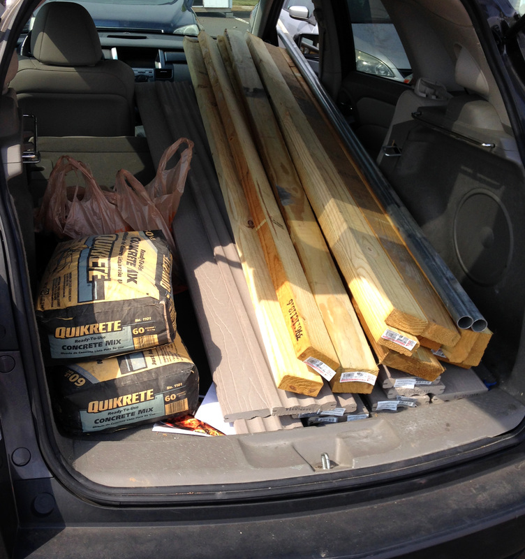 Fitting Everything for the DIY Picnic Table in the Car