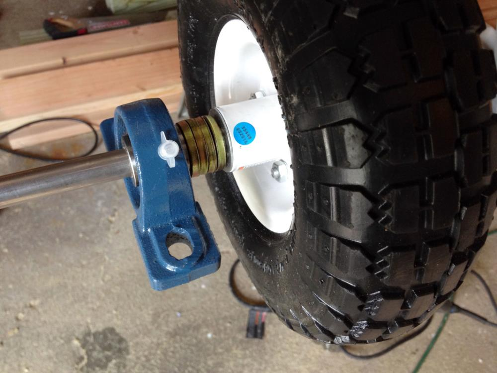 Using a Pillow Block and Spaces when Assembling Wheels for the Utility Wagon