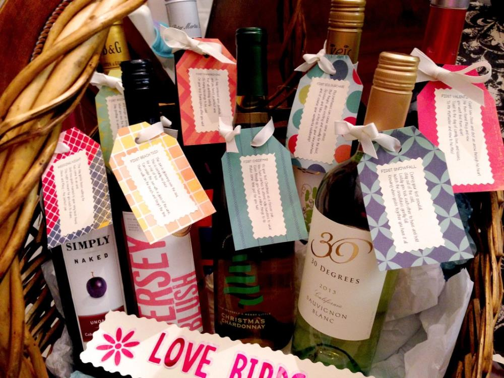 How to Make a First Year of Marriage Wedding Wine Basket - Free printables!