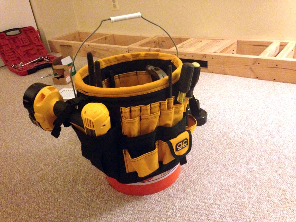Using a Bucket Organizer to Keep Tools Organized During DIY Bookshelf Project