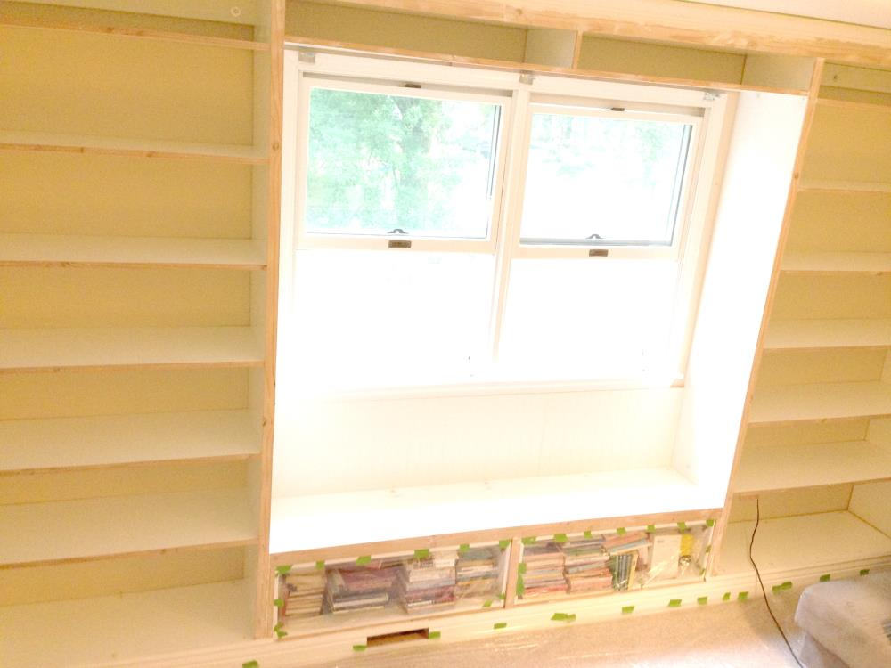 Attaching Trim on the Floor to Ceiling Built-In Bookcases