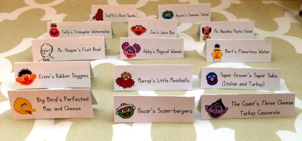 Funny Labels for Sesame Street Party Food