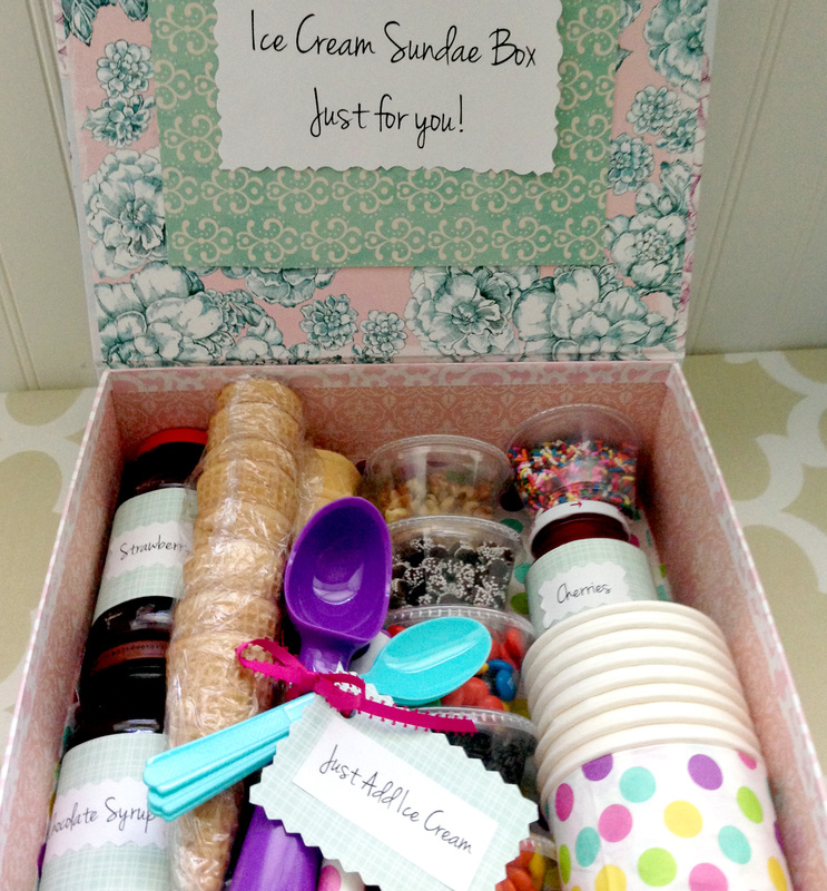Making a DIY Ice Cream Gift Basket
