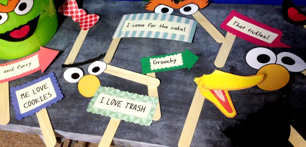 Sesame Street Party Photo Booth Props - free printables