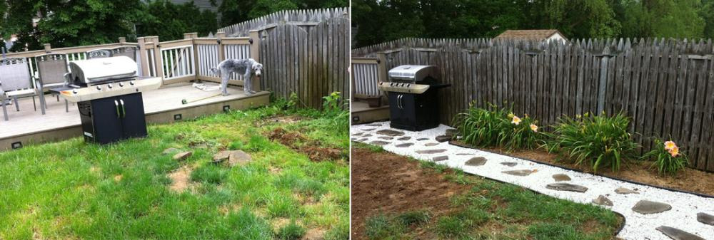 Making a Stone Pathway in Your Yard with Before and Afters