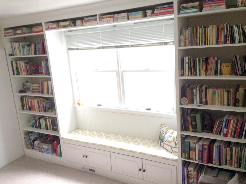 Easy Instructions for DIY Built-In Bookshelves with a Window Seat