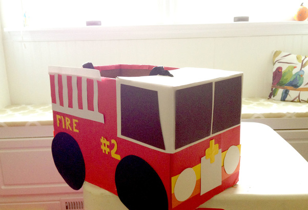 Making a DIY Fire Truck Halloween Costume from Diaper Box