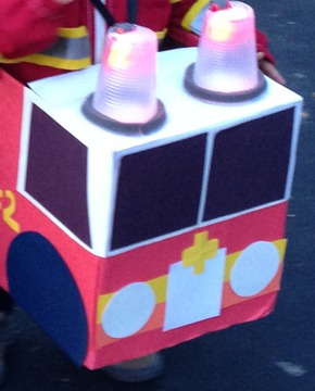 DIY Fire Truck Halloween Costume from a Diaper Box