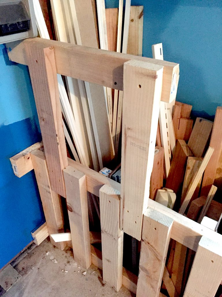 Using Wasted Garage Corner Space for Scrap Wood Storage