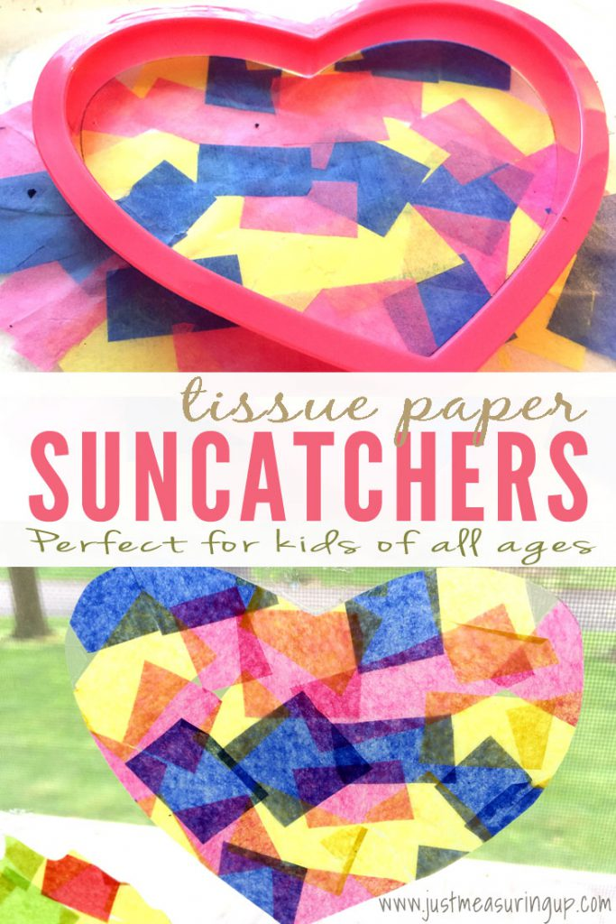 How to make tissue paper suncatchers easy kids crafts for Suncatcher craft for kids