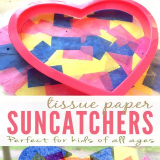 Kids Craft with Tissue Paper Suncatchers