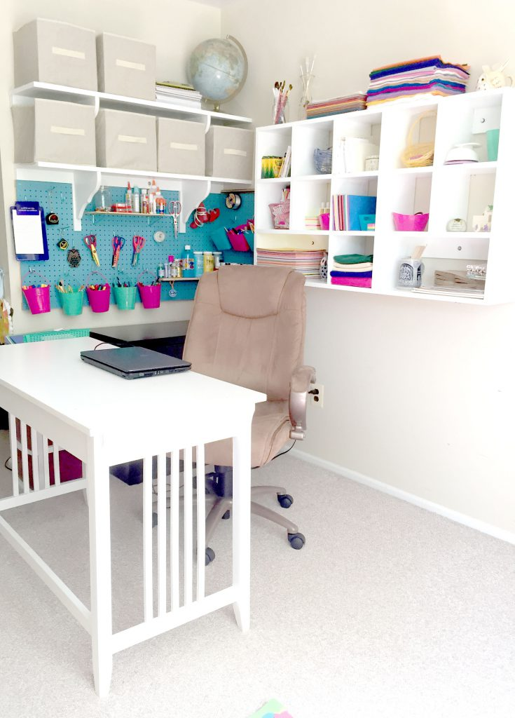 DIY Craft Room Storage - How to Mount Pegboard and Build Cubby Shelves with FREE printables