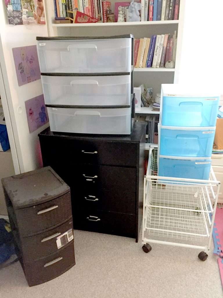 "How to Organize a Craft Room with DIY Storage and Shelves - ""Before"""