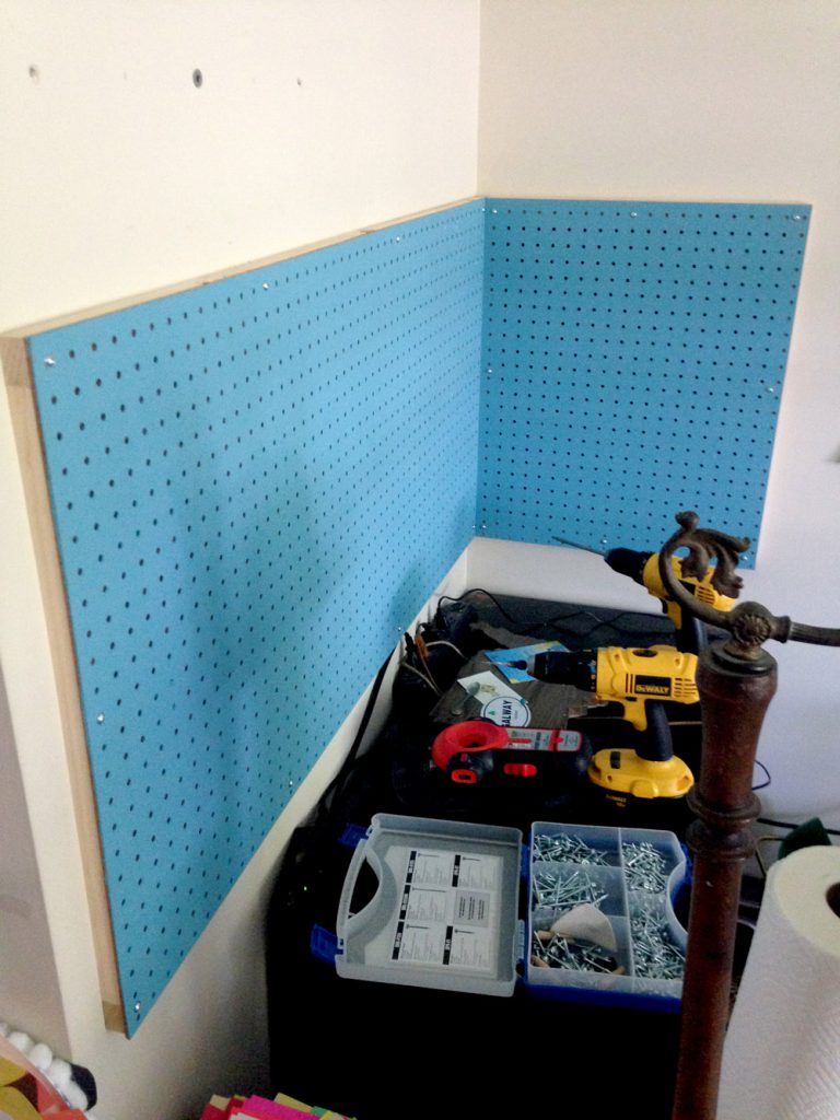 Mounting Pegboard to the Walls for Additional Craft Room Storage - No more desk drawers!