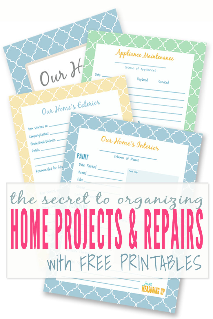 Organized your home projects and repairs with these free printables