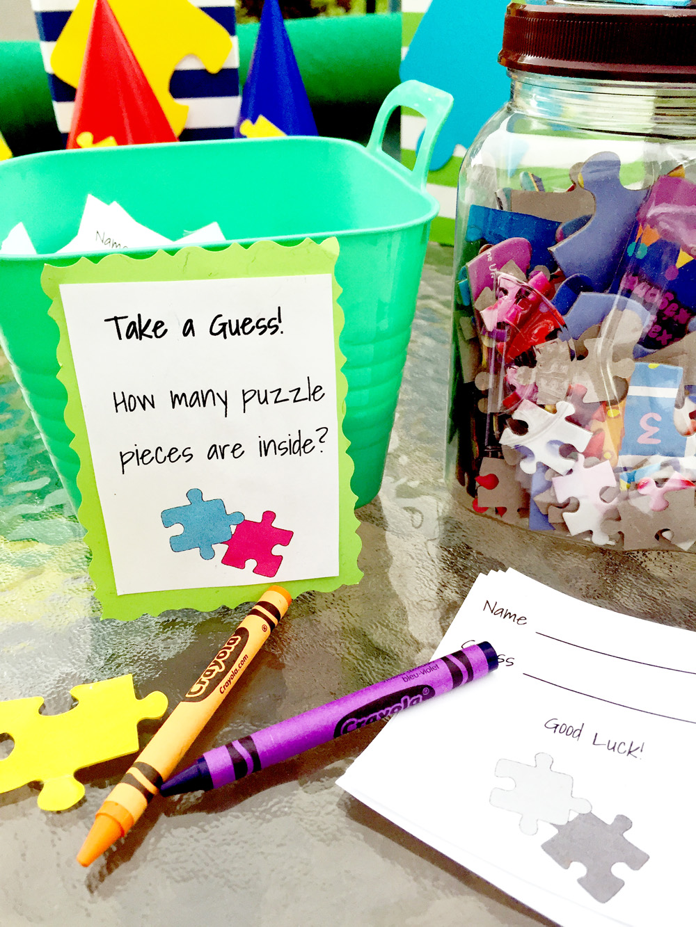 Awesome Puzzle Party Ideas - Guess the Number of Puzzle Pieces in the Jar