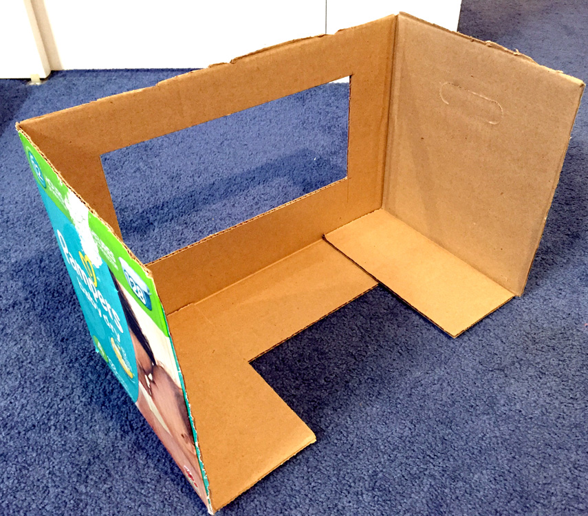 Using a diaper box to make a puppet theater for kids