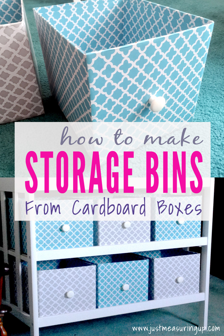 Reusing cardboard boxes for storage for the nursery changing table