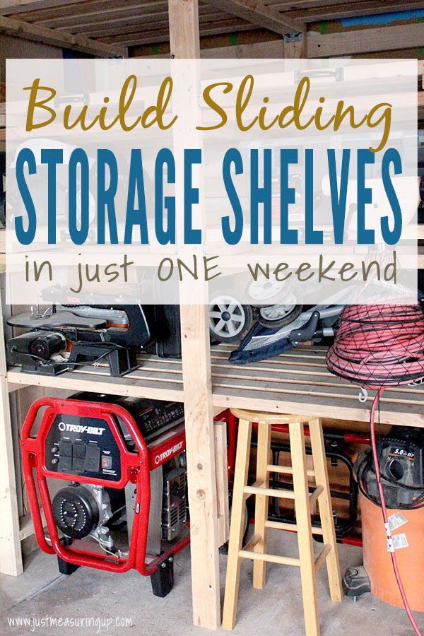 DIY sliding garage shelf tower filled with garage tools