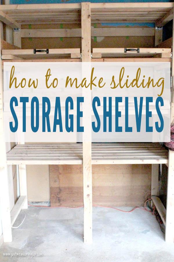 Simple DIY garage sliding shelf tower - perfect for garage or basements