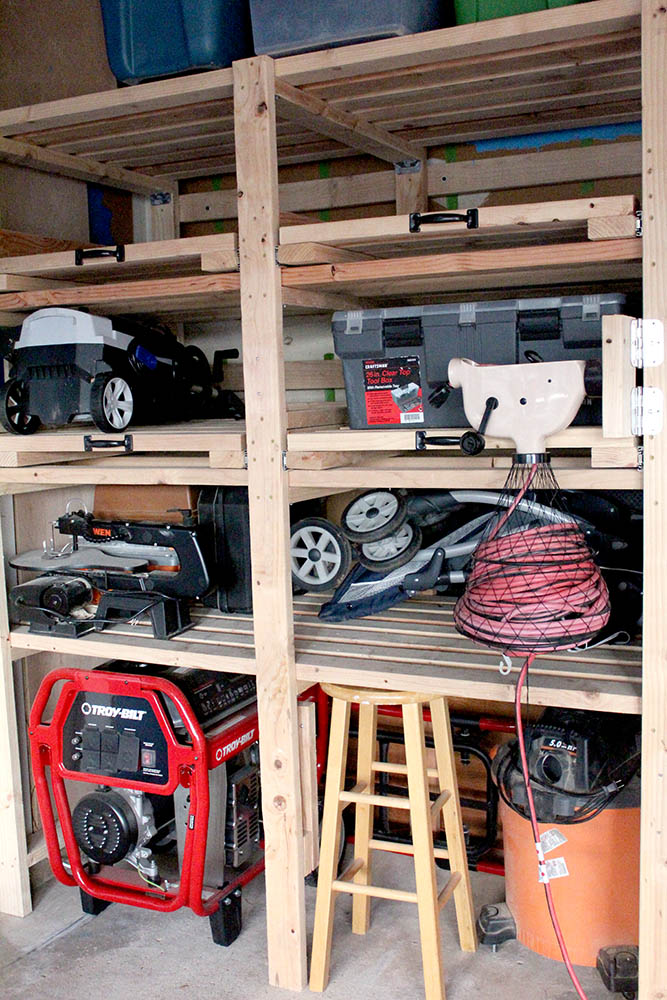 DIY wall-mounted garage shelves with free plans