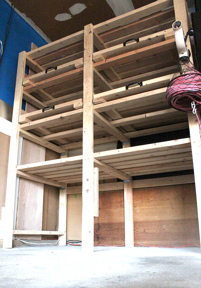 DIY garage storage shelf tower with pull out shelves