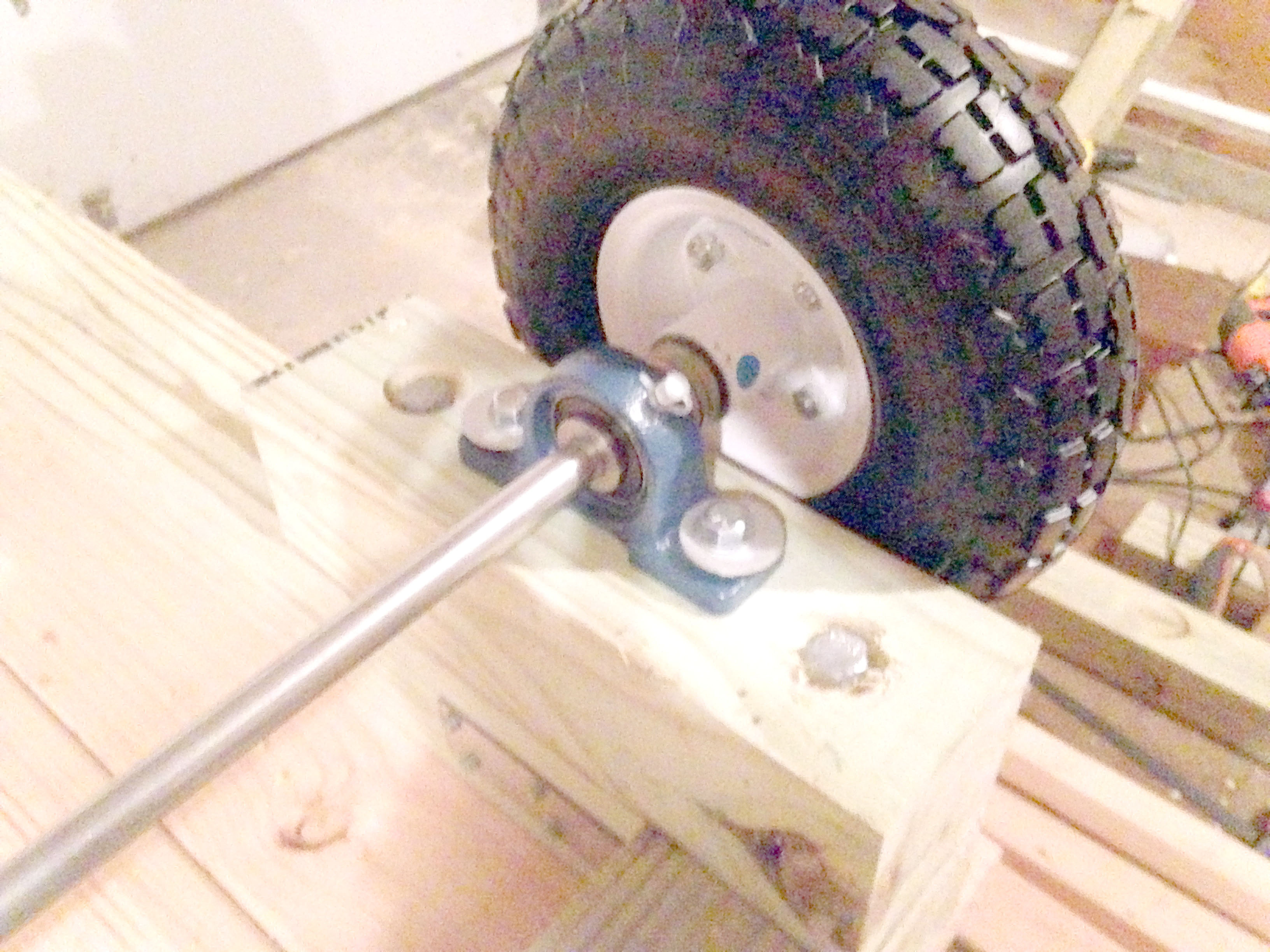 Close-Up of the Wheel Structure on DIY Utility Cart