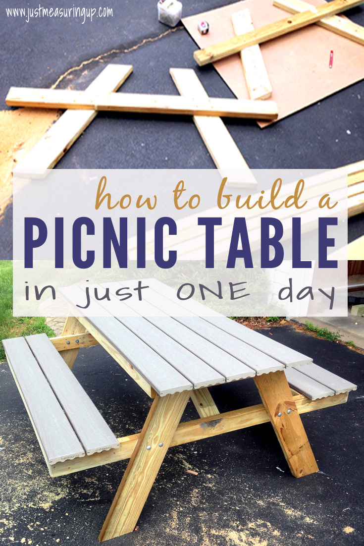 how to build a DIY picnic table from composite decking