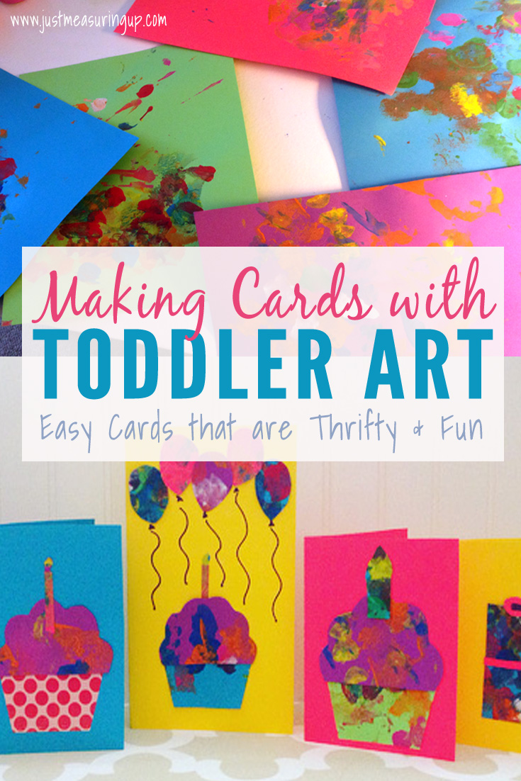 These adorable cards are made from toddler paintings!
