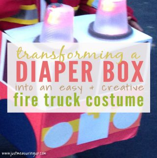 Making a Firetruck Costume from a Diaper Box