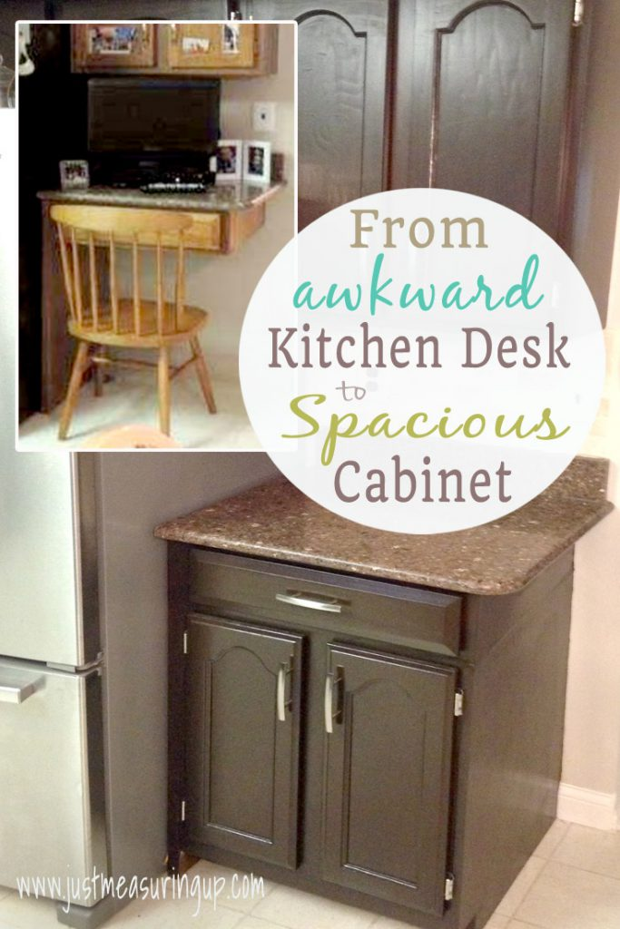 "Turn a ""kitchen desk"" into cabinet storage!"