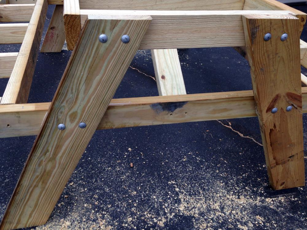 how to make a homemade DIY picnic table from composite decking and 2x4x in one weekend