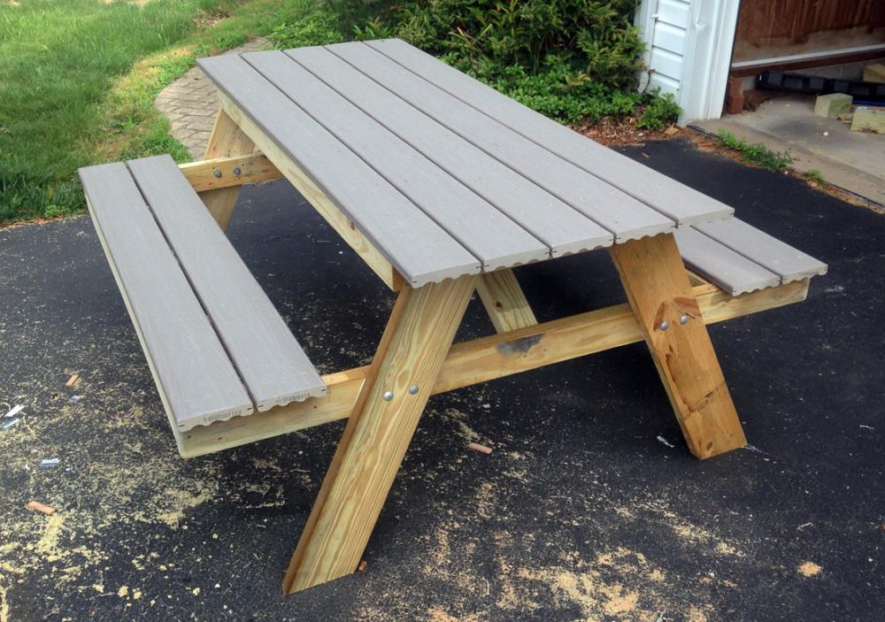 composite decking picnic table in gray - full tutorial with materials and cost
