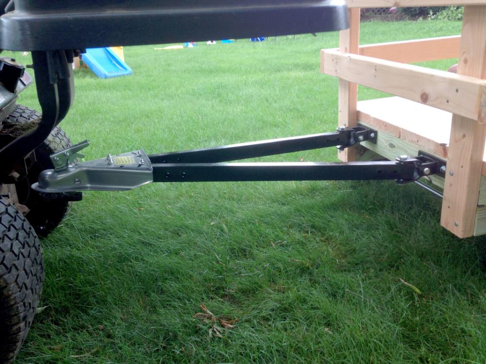 Using a Hitch and Tow to Connect DIY Utility Cart to Riding Mower