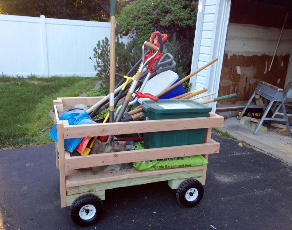 DIY utility cart filled with yard tools - easy tutorial