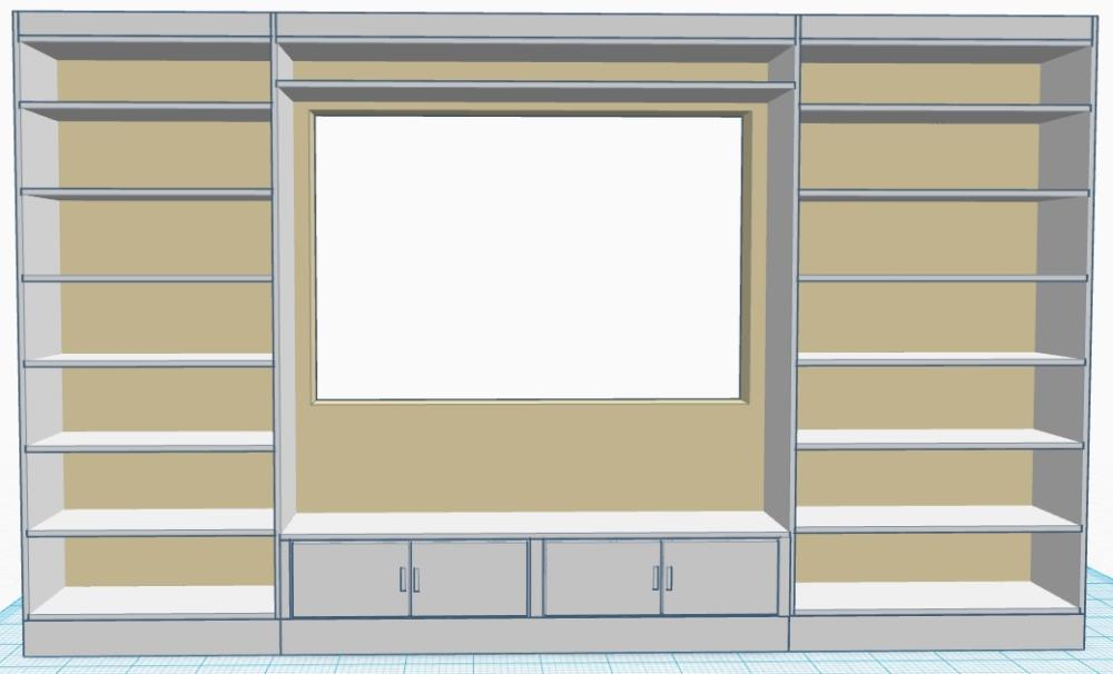 Sketch for diy builtin bookshelves unit