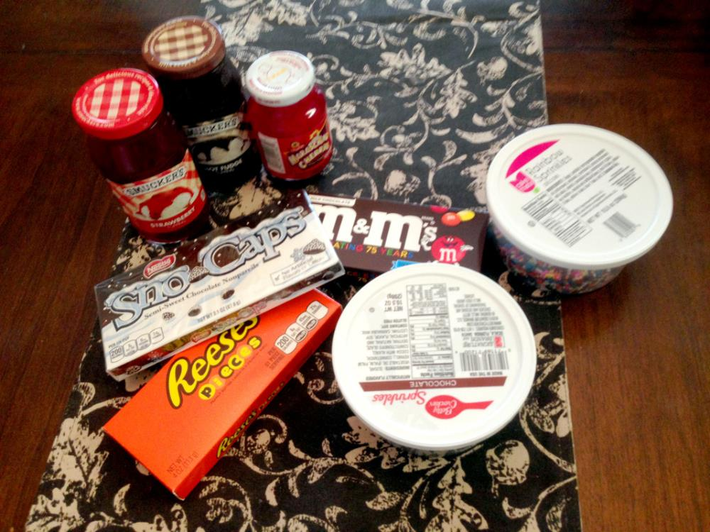 Making an Ice Cream Sundae Gift Basket