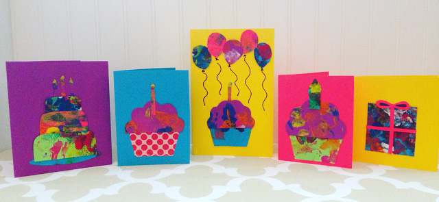 Card making ideas with toddlers - use their paintings and cut and paste them into homemade cards for birthdays