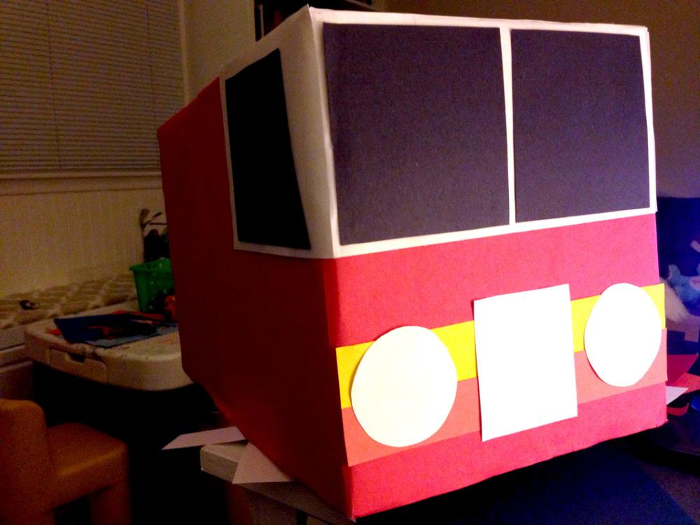 Making a DIY Fire Truck Halloween Costume from a Diaper Box