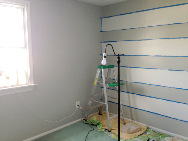 Painting a Striped Accent Wall - DIY Nursery Ideas