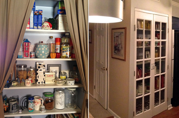 Before and after of kitchen pantry update with French doors - small fix to get house ready to sell