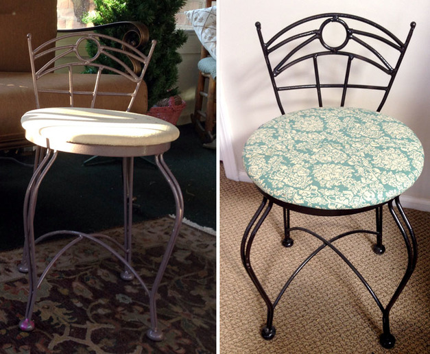 Using Spray Paint and New Fabric to Transform Old Chairs