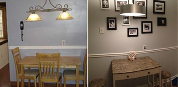 Before and after of kitchen nook - staging home to sell quickly in a slow market
