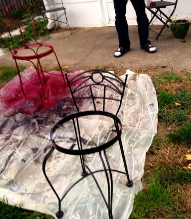 Spray Painting Chairs - Chair Makeover Tutorial