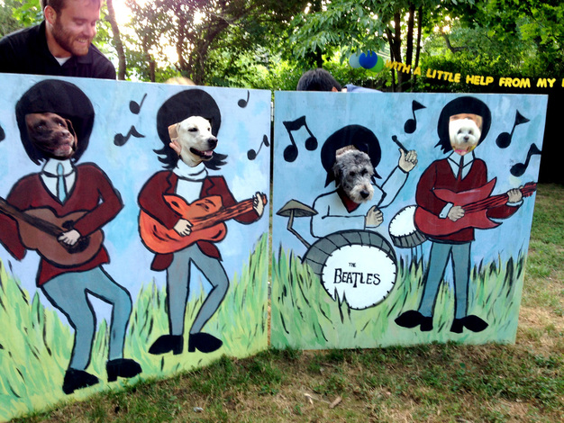 Throwing an Amazing Beatles Party - DIY Beatles Face Cut-Out