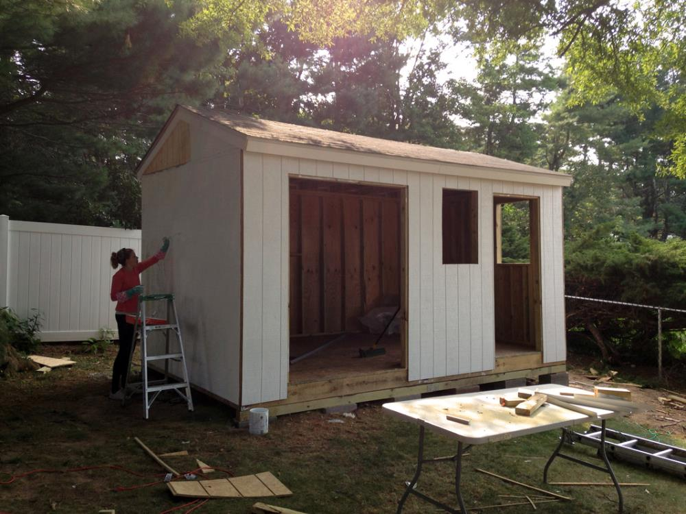 Painting and priming the Shed - DIY Shed Tutorial