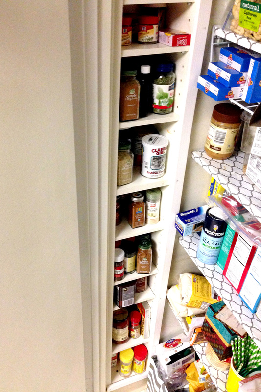 CD tower installed in the wall of the pantry as a spice rack DIY project